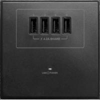 M2K AP004MF-B 4.2A 單位 單蘇 4 USB 插座 (4USB系列 ) 黑色 電制 制面 電掣 掣面 插蘇