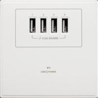 M2K AP004MF-W 4.2A 單位 單蘇 4 USB 插座 (4USB系列 ) 白色 電制 制面 電掣 掣面 插蘇