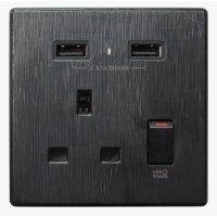 M2K AP105AL-B 2.1A 單位 單蘇 2 USB 插座 (牆紙紋系列 ) 黑色 電制 制面 電掣 掣面 插蘇