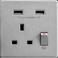 M2K AP105AL-G 2.1A 單位 單蘇 2 USB 插座 (牆紙紋系列 ) 灰色 電制 制面 電掣 掣面 插蘇