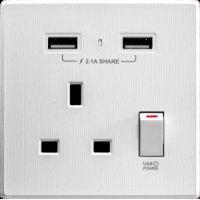 M2K AP105AL-W 2.1A 單位 單蘇 2 USB 插座 (牆紙紋系列 ) 白色 電制 制面 電掣 掣面 插蘇