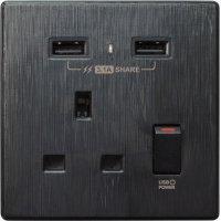 M2K AP105AL3-B 3.1A 單位 單蘇 2 USB 插座 (牆紙紋系列 ) 黑色 電制 制面 電掣 掣面 插蘇