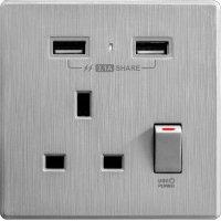 M2K AP105AL3-G 3.1A 單位 單蘇 2 USB 插座 (牆紙紋系列 ) 灰色 電制 制面 電掣 掣面 插蘇