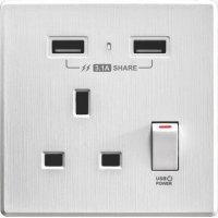 M2K AP105AL3-W 3.1A 單位 單蘇 2 USB 插座 (牆紙紋系列 ) 白色 電制 制面 電掣 掣面 插蘇