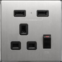 M2K AP105AM-B 2.1A 單位 單蘇 2 USB 插座 (銀不銹鋼系列 ) 黑色 電制 制面 電掣 掣面 插蘇