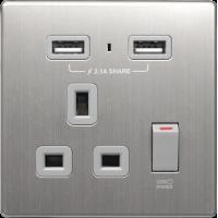 M2K AP105AM-G 2.1A 單位 單蘇 2 USB 插座 (銀不銹鋼系列 ) 灰色 電制 制面 電掣 掣面 插蘇