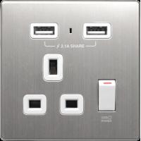 M2K AP105AM-W 2.1A 單位 單蘇 2 USB 插座 (銀不銹鋼系列 ) 白色 電制 制面 電掣 掣面 插蘇