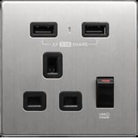 M2K AP105AM3-B 3.1A 單位 單蘇 2 USB 插座 (銀不銹鋼系列 ) 黑色 電制 制面 電掣 掣面 插蘇