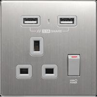 M2K AP105AM3-G 3.1A 單位 單蘇 2 USB 插座 (銀不銹鋼系列 ) 灰色 電制 制面 電掣 掣面 插蘇