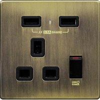 M2K AP105AM3-GD 3.1A 單位 單蘇 2 USB 插座 (不銹鋼系列 ) 古銅金 電制 制面 電掣 掣面 插蘇