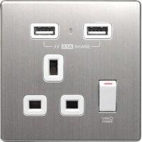 M2K AP105AM3-W 3.1A 單位 單蘇 2 USB 插座 (銀不銹鋼系列 ) 白色 電制 制面 電掣 掣面 插蘇