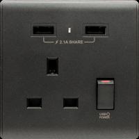 M2K AP105APC-B 2.1A 單位 單蘇 2 USB 插座 (色彩系列 ) 碳黑 電制 制面 電掣 掣面 插蘇