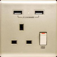 M2K AP105APC-CG 2.1A 單位 單蘇 2 USB 插座 (色彩系列) 香檳金 電制 制面 電掣 掣面 插蘇