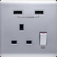 M2K AP105APC-SB 2.1A 單位 單蘇 2 USB 插座 (色彩系列 ) 藍銀 電制 制面 電掣 掣面 插蘇