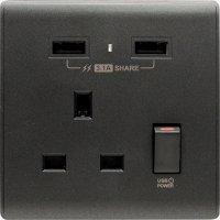 M2K AP105APC3-B 3.1A 單位 單蘇 2 USB 插座 (色彩系列 ) 碳黑  電制 制面 電掣 掣面 插蘇