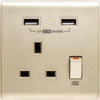 M2K AP105APC3-CG 3.1A 單位 單蘇 2 USB 插座 (色彩系列 ) 香檳金 電制 制面 電掣 掣面 插蘇