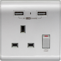 M2K AP105APC3-S 3.1A 單位 單蘇 2 USB 插座 (色彩系列 ) 銀色 電制 制面 電掣 掣面 插蘇