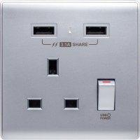 M2K AP105APC3-SB 3.1A 單位 單蘇 2 USB 插座 (色彩系列 ) 藍銀 電制 制面 電掣 掣面 插蘇