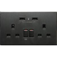 M2K AP202AL4-B 4.2A 雙位 孖蘇 2 USB 插座 (牆紙紋系列 ) 黑色 電制 制面 電掣 掣面 插蘇 孖位電制 孖位電掣 雙位電制 雙位電掣