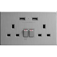 M2K AP202AL4-G 4.2A 雙位 孖蘇 2 USB 插座 (牆紙紋系列 ) 灰色 電制 制面 電掣 掣面 插蘇