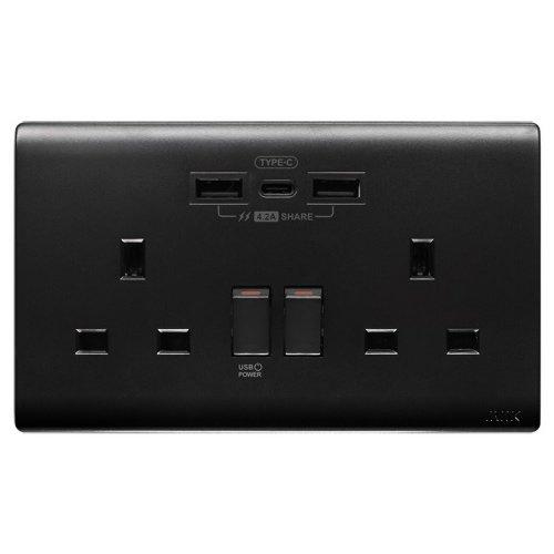 M2K TC202APC4-B TYPE C/USB電制 (孖蘇) 4.2A (色彩系列) 碳黑