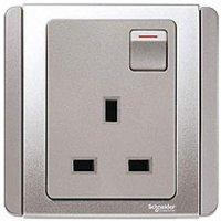 施耐德電氣  Schneider Electric NEO E3015R GS 13A 單位連保護門有掣插座-銀灰色插座