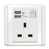 施耐德電氣  Schneider Electric NEO E3015USB_WW_C5 13A 單位連保護門有掣插座連雙位USB充電插座-凝白色插座